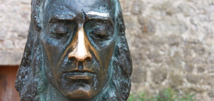 Sculpture of the composer.