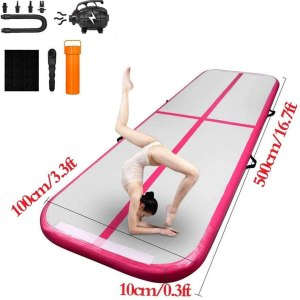 Star Paraselene 10ft/13.3ft/16.7ft/20ft Inflatable Airtrack,Tumbling Gymnastics Mat, Waterproof Air Track,with Electric Air Pump for Home...