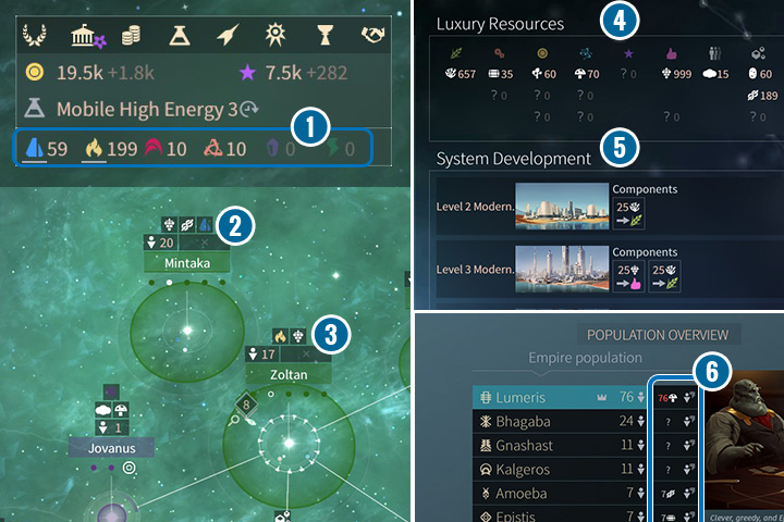 In the main screen you can see the information about your resources (1) in warehouses (those that are mined are highlighted). In the Trade screen you can see the status of the luxury resources (4). - Strategic and luxury resources in Endless Space 2 - Gameplay basics - Endless Space 2 Game Guide