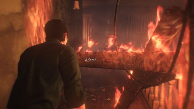 Debes caminar bajo la viga ardiente.  - Capítulo 1 - En la llama |  Tutorial - Tutorial - The Evil Within 2 Guía del juego