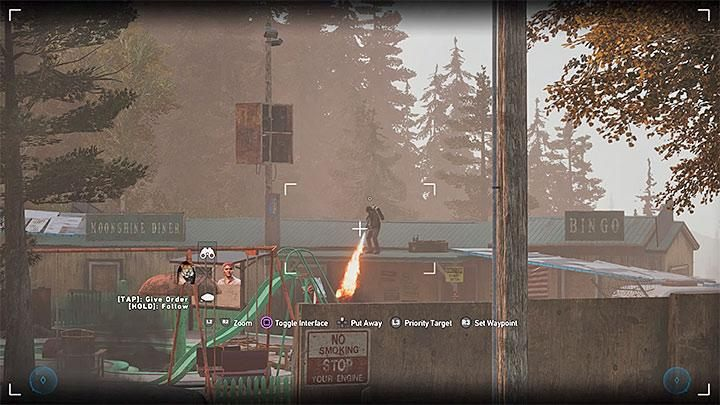 After you reach the trailer park, you will notice Sharky playing with his flamethrower - Specialists in Far Cry 5 (Companions) - Guidebook - Far Cry 5 Game Guide