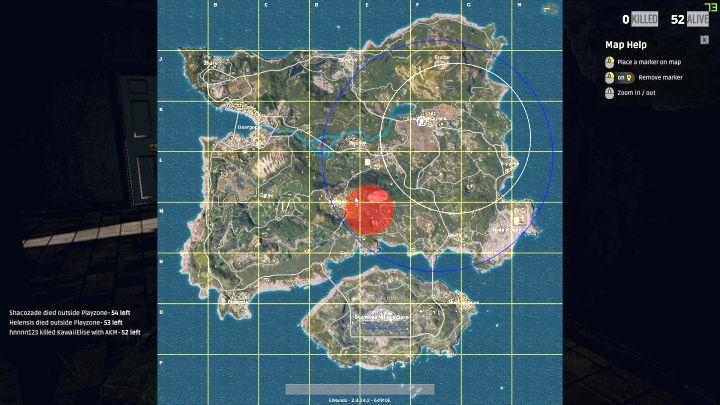 White and blue zones on your map   Battlefield   PUBG Game Guide     The fighting zone will constantly become smaller and smaller    White and  blue zones on
