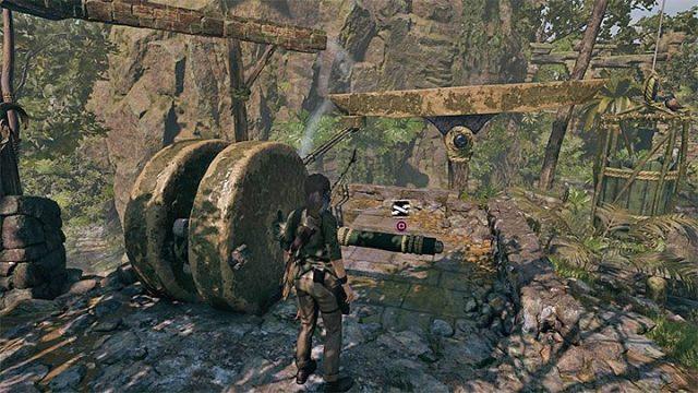 Вернитесь на дно и посмотрите на другой механизм слева от моста, показанный на картинке. Как решить загадку моста в Shadow of the Tomb Raider Game? - Рединг загадок - Тень игры в гробницу