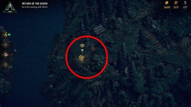 Чтобы получить первое сокровище, вам нужно следовать по извилистой дороге между деревьями, которая приведет вас к скале - Скрытые сокровища сундуков в Ривии |  Thronebreaker The Witcher Tales - Карты скрытых сокровищ - Тронно-разбойник The Witcher Tales Guide
