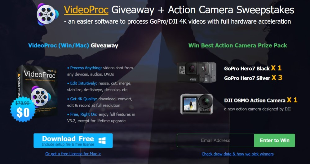 VideoProc Giveaway plus action camera sweepstakes 2019 Fix shaky videos