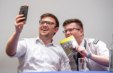 Photo by Liz Finlayson/Vervate LVS Ascot Routes to the World of Work 2018 - Former LVS Ascot pupils Ben Viney and Tom Slingsby (right)