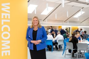 14.09.18. LVS Ascot's Principal Christine Cunniffe proudly shows off the school's newly refurbished dining hall