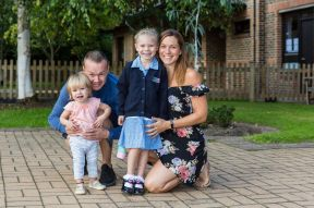 14.09.18. New Reception class pupil Sienna arrives for her first day at LVS Ascot