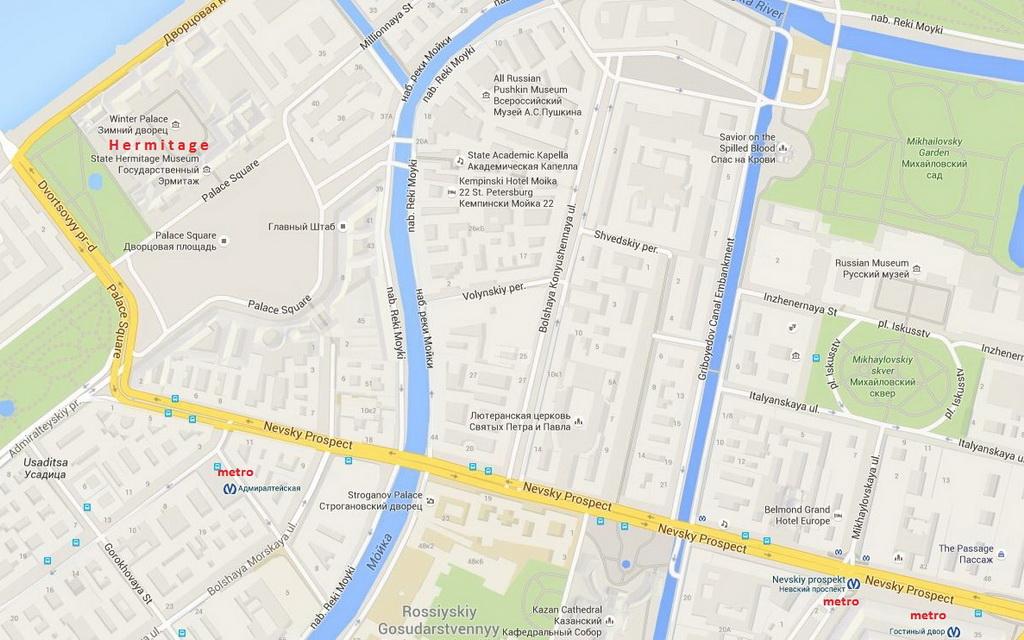 The nearest metro station to the museum is Admiralteyskaya