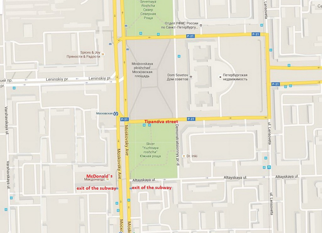 The stops of both routes are located near the building of McDonald's