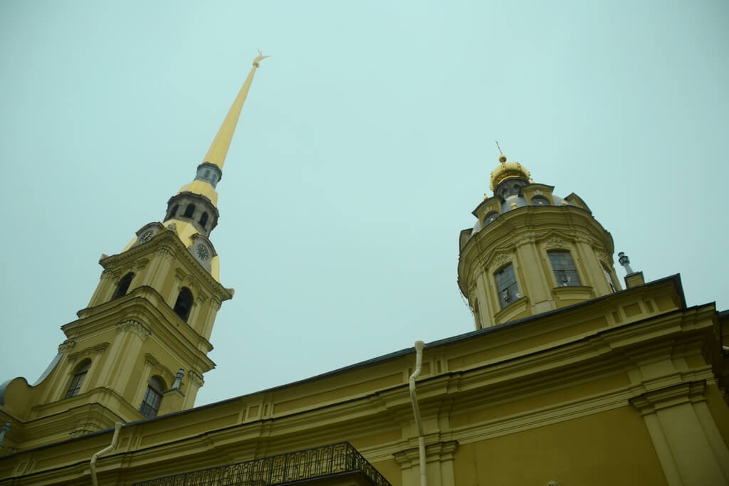 The spire of the Peter and Paul fortress`s cathedral