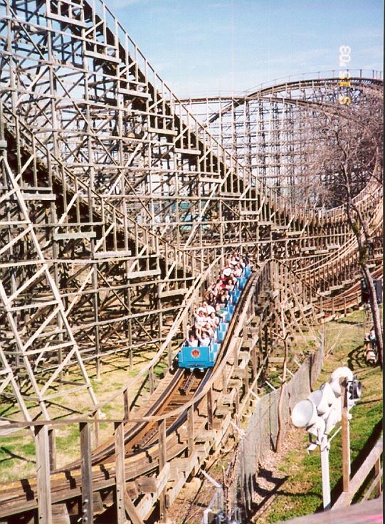 """Texas Giant roller coaster, Six Flags Over Texas, Arlington, TX 32 Deg 45' 26"""" N, 97 Deg 04' 23""""W"""