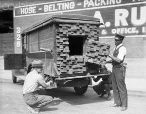 Prohibition Agents Inspecting Bootleggers Truck
