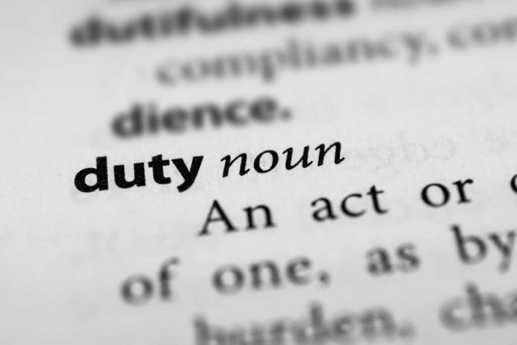Ancient Greek duty and obligation along with Immanuel Kant's categorical imperative of morality spotlight that duty is an activity.