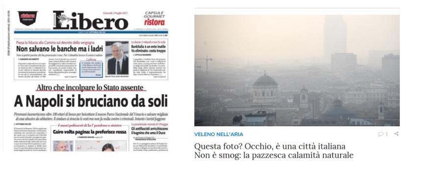 """Gli incendi sul Vesuvio e in Val di Susa descritti con toni molto diversi dal quotidiano """"Libero"""""""
