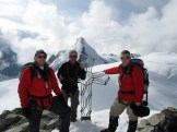 On top of Tête Blanche (3724m), in front of Tête de Valpelline (3802m) and Dent D'Hérens (4171m)