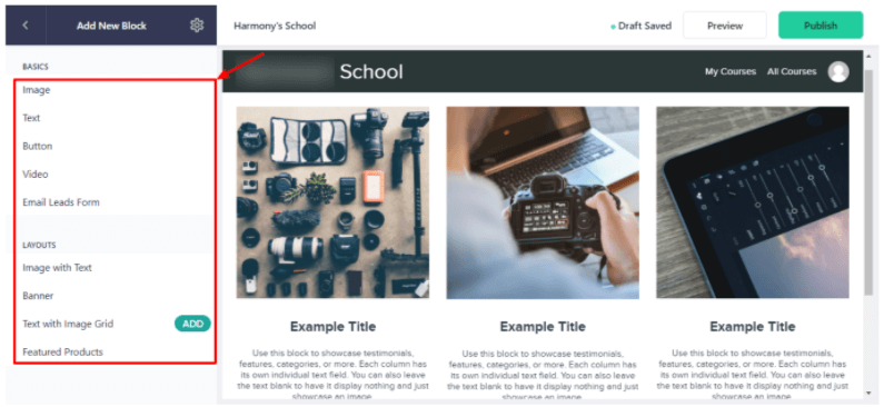 Customization options for your Teachable website.