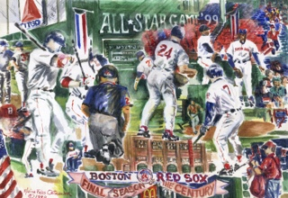 Red Sox Wive's Cookbook: Crowding The Plate. Cover image by Elaine Felos Ostrander