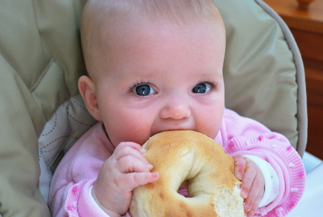 Yes, it is a bagel.. MY FIRST BAGEL, and yes only for a minute, till my drool softened it and No Fun Nana took it!