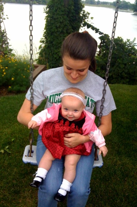 A ride on a swing with Aunt Arrianna!