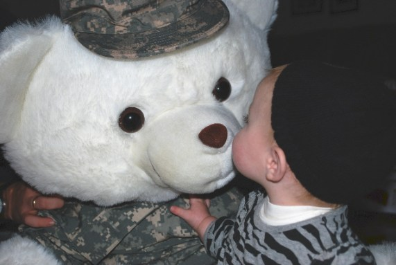 A kiss for GI Bear.