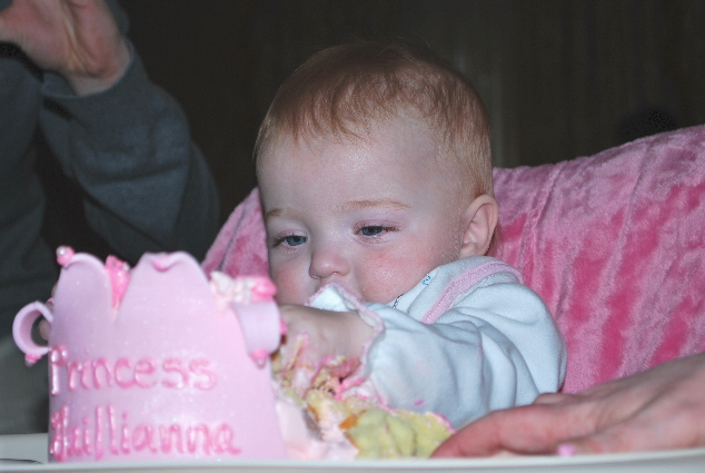 Me and my first birthday cake!