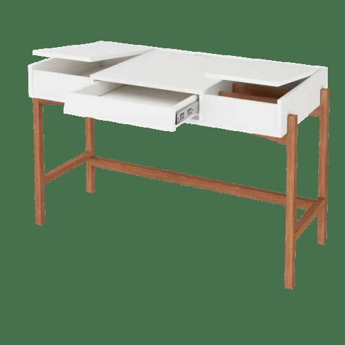 mesa escrivaninha Verti com gaveta e tampas abertas