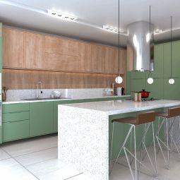 cozinha com padrão madeirado e verde