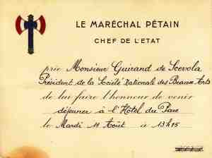 invitation marechal petain