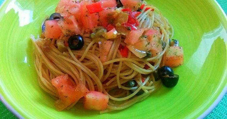 Espaguetis Mediterráneos. [Una gran receta italiana]