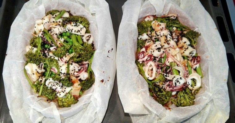 Calamares en papillote con verduras