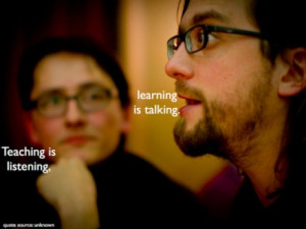 "An image with a person talking and one listening and the words ""Teaching is listening... learning is talking."" The same goes for UX."