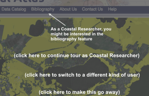 A screenshot of an interactive tour I designed as a rapid prototype