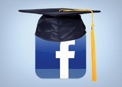 """An image of the Facebook icon with a college graduation hood on it; Published as part """"Why we need to teach marketable, digital skill sets in higher education"""""""