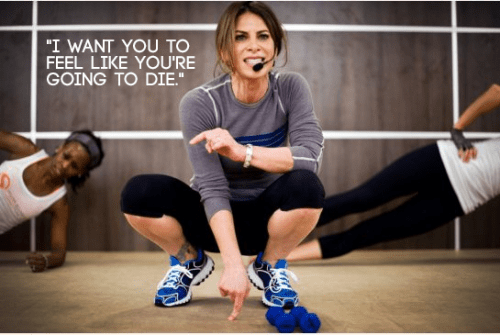 """A photo of Jillian Michaels with the caption: """"I want you to feel like you're going to die."""""""