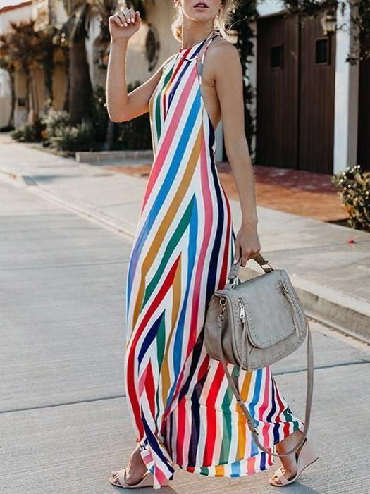 vestido longo soltinho listrado