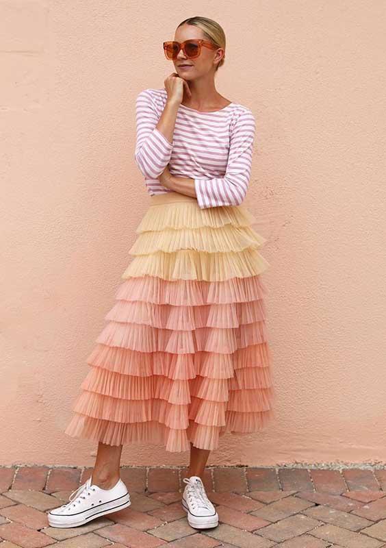 saia rosa com babadso