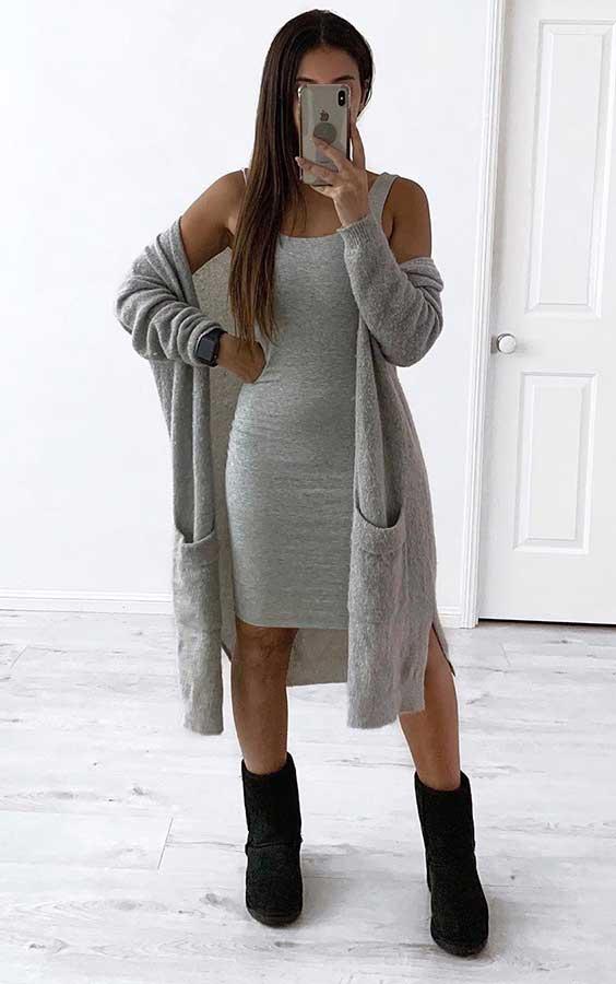 vestido midi e maxi cardigan