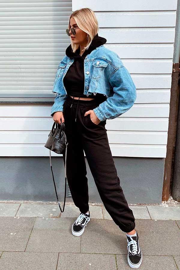 jaqueta jeans cropped, conjutno de moletom