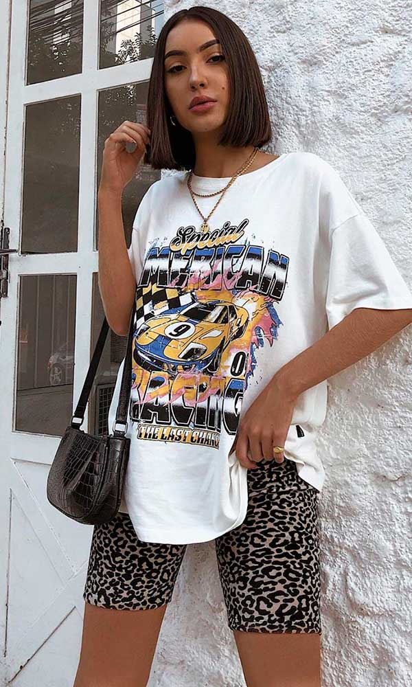 combinações preferida, race car t-shirt, bermudinha de animal print
