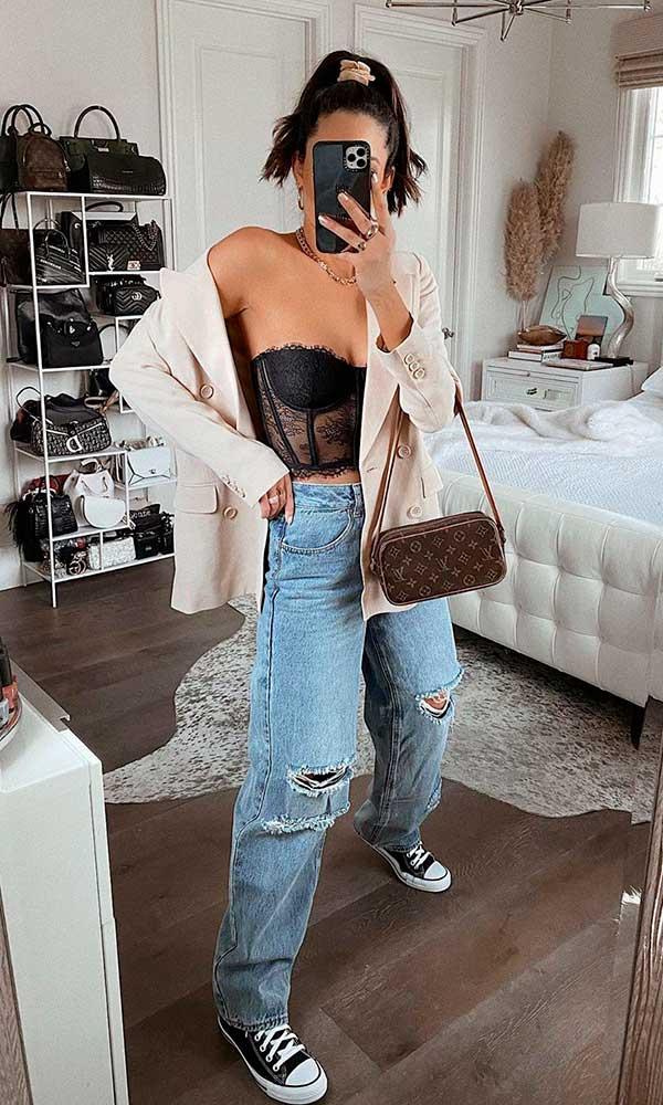 wide leg, calça baggy, body de renda e blazer