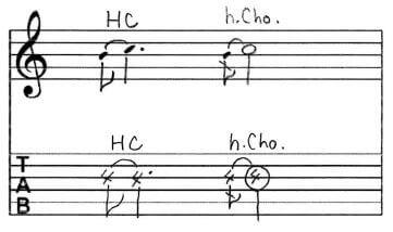 ハーフチョーキング:Tab譜
