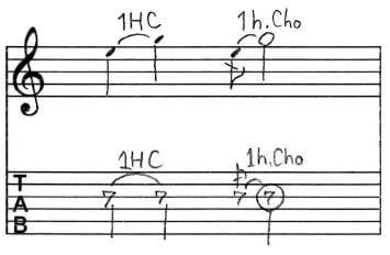 1音半チョーキング:Tab譜