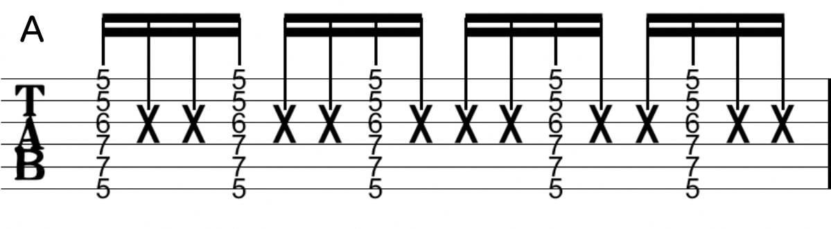 カッティング練習フレーズ:Tab譜