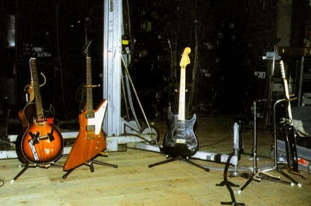 U2 The Edge guitars in studio