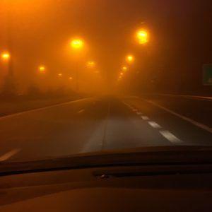 La E25 dans le brouillard…