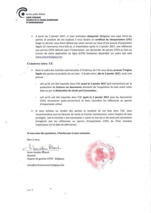 Déclaration volontaire de stock CITES pré-convention