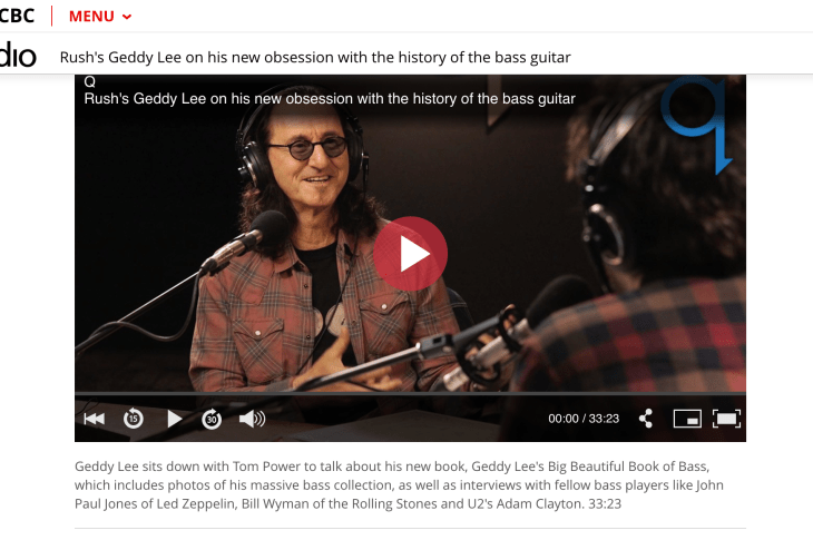 Geddy Lee on Tom Power's Q