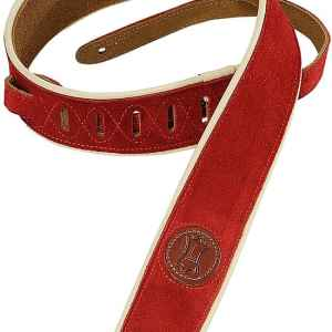 levys red leather guitar strap