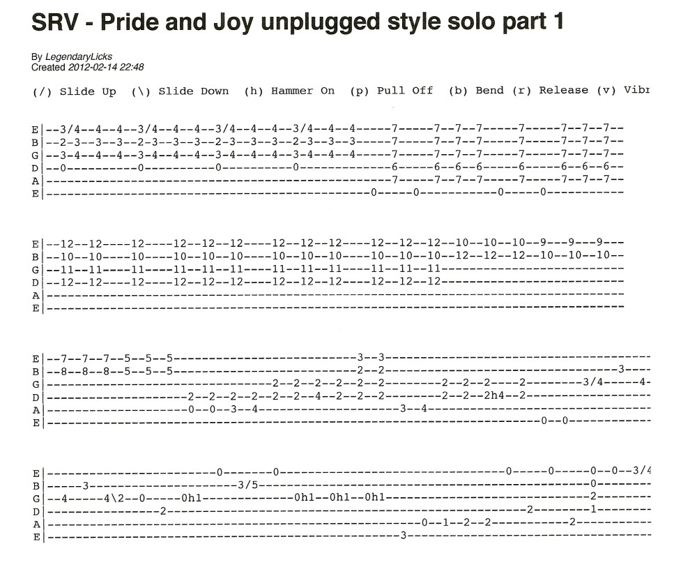 Stevie Ray Vaughan - Pride and Joy unplugged style solo with tablature (1/5)